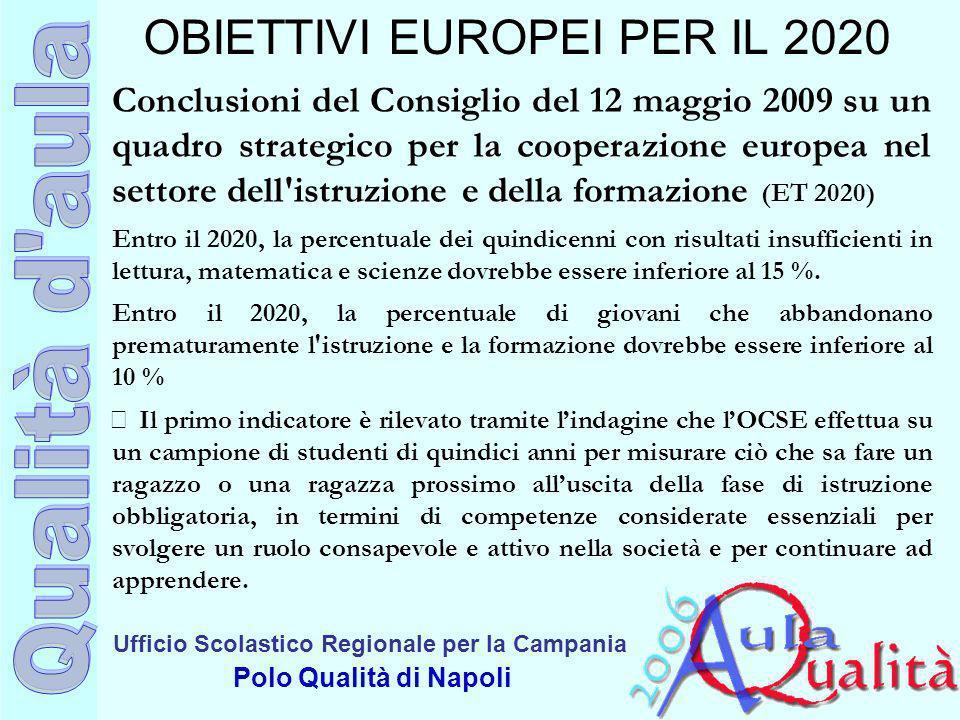Ufficio Scolastico Regionale per la Campania Polo Qualità di Napoli OBIETTIVI EUROPEI PER IL 2020 Conclusioni del Consiglio del 12 maggio 2009 su un q