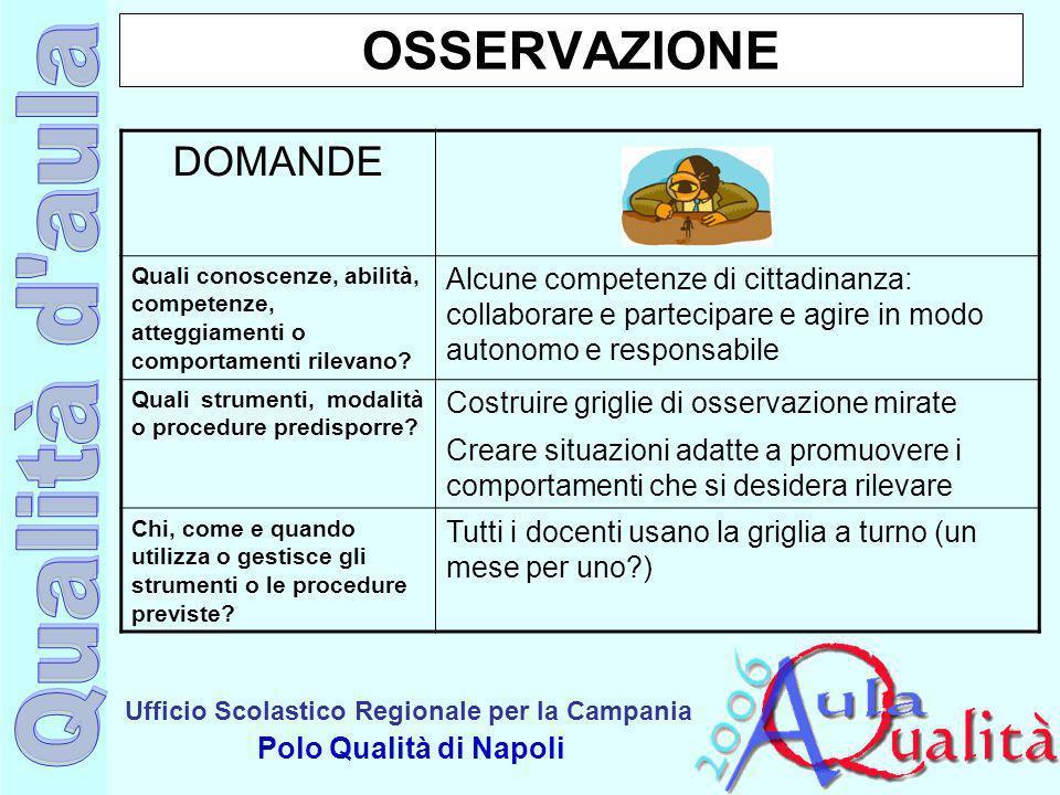 Ufficio Scolastico Regionale per la Campania Polo Qualità di Napoli OSSERVAZIONE DOMANDE Quali conoscenze, abilità, competenze, atteggiamenti o compor