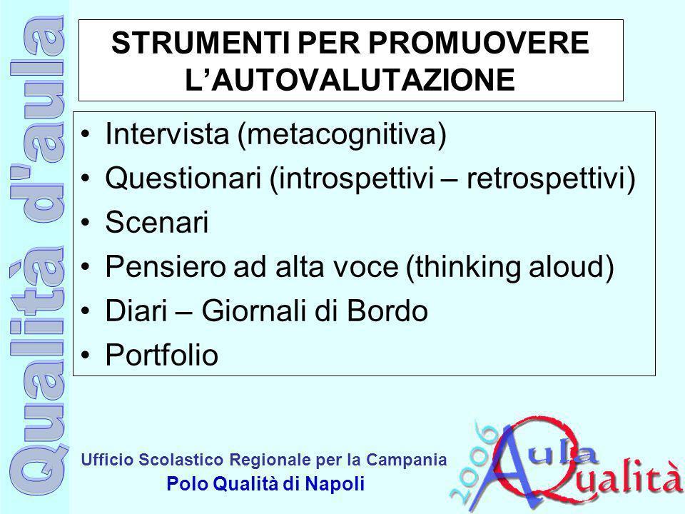 Ufficio Scolastico Regionale per la Campania Polo Qualità di Napoli STRUMENTI PER PROMUOVERE LAUTOVALUTAZIONE Intervista (metacognitiva) Questionari (