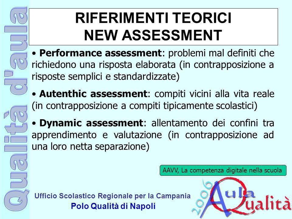 Ufficio Scolastico Regionale per la Campania Polo Qualità di Napoli RIFERIMENTI TEORICI NEW ASSESSMENT Performance assessment: problemi mal definiti c