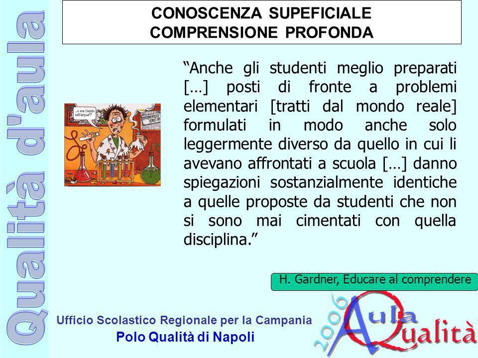 Ufficio Scolastico Regionale per la Campania Polo Qualità di Napoli CONOSCENZA SUPEFICIALE COMPRENSIONE PROFONDA Anche gli studenti meglio preparati [