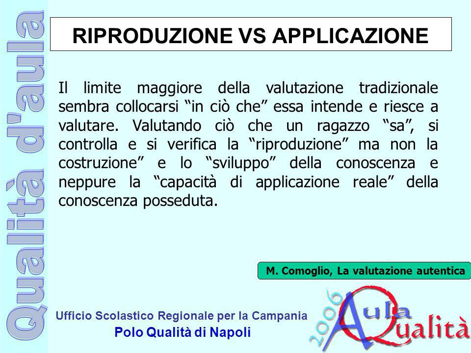 Ufficio Scolastico Regionale per la Campania Polo Qualità di Napoli RIPRODUZIONE VS APPLICAZIONE Il limite maggiore della valutazione tradizionale sem