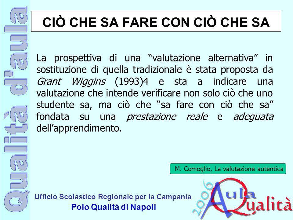 Ufficio Scolastico Regionale per la Campania Polo Qualità di Napoli CIÒ CHE SA FARE CON CIÒ CHE SA La prospettiva di una valutazione alternativa in so