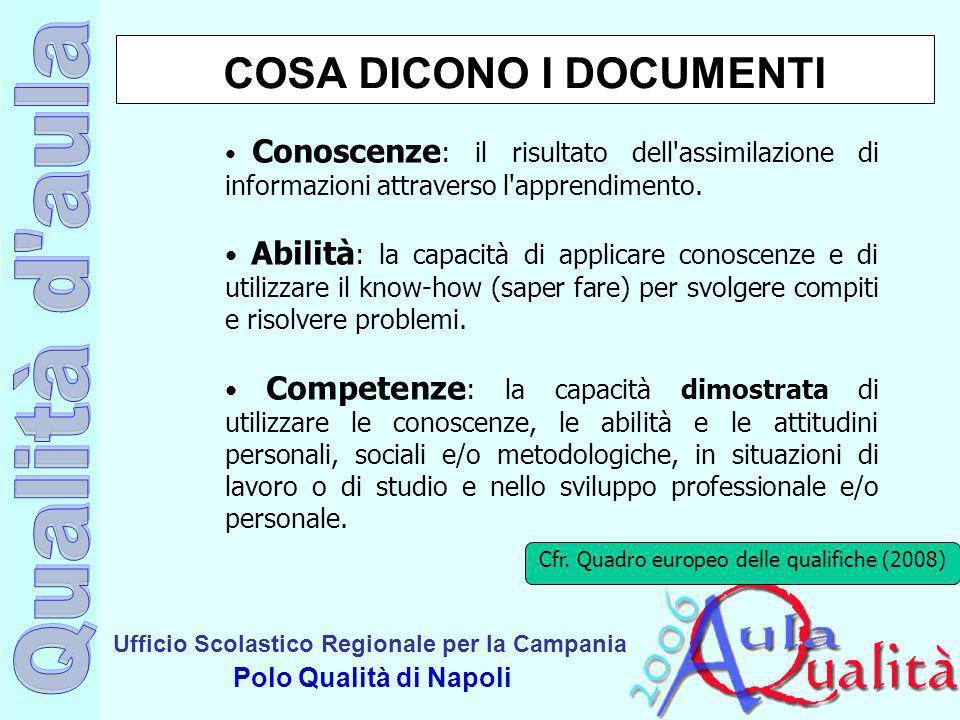 Ufficio Scolastico Regionale per la Campania Polo Qualità di Napoli Cfr. Quadro europeo delle qualifiche (2008) COSA DICONO I DOCUMENTI Conoscenze : i