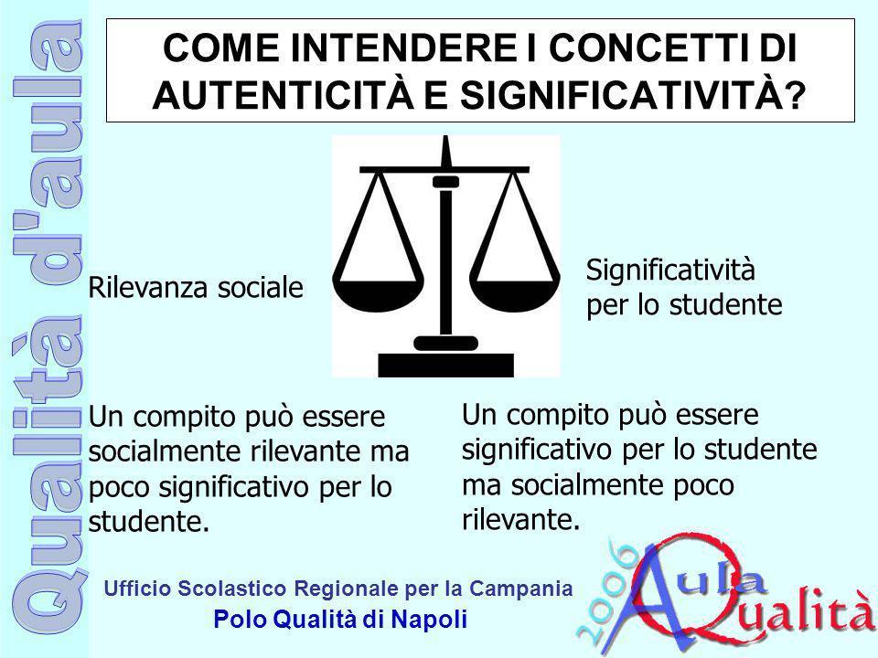 Ufficio Scolastico Regionale per la Campania Polo Qualità di Napoli COME INTENDERE I CONCETTI DI AUTENTICITÀ E SIGNIFICATIVITÀ? Un compito può essere