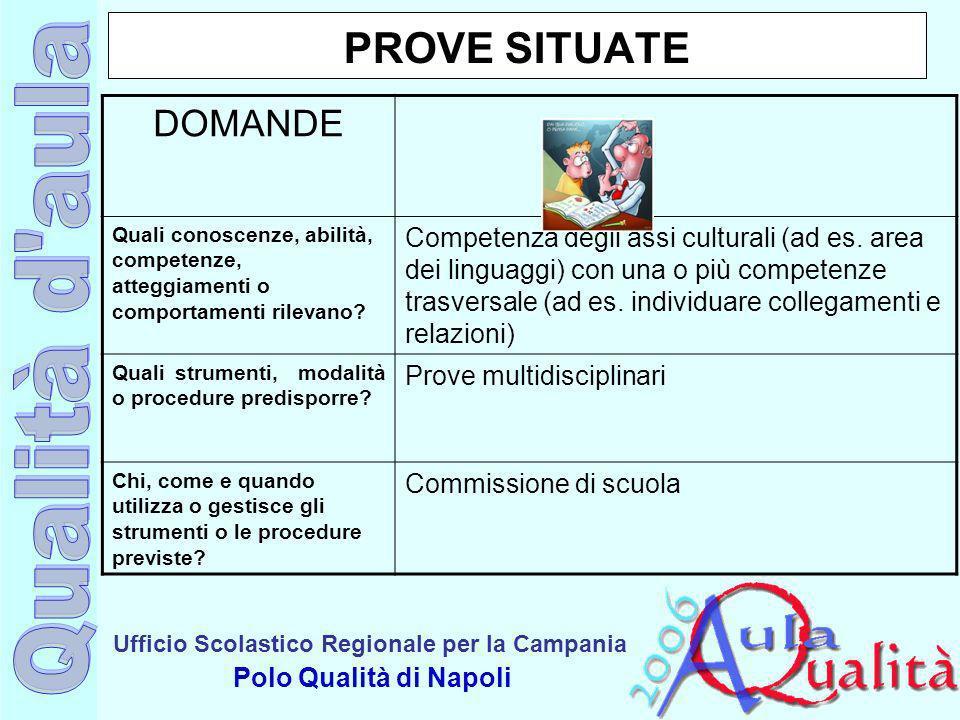 Ufficio Scolastico Regionale per la Campania Polo Qualità di Napoli PROVE SITUATE DOMANDE Quali conoscenze, abilità, competenze, atteggiamenti o compo