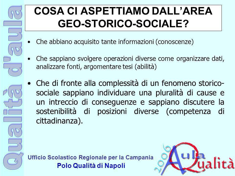 Ufficio Scolastico Regionale per la Campania Polo Qualità di Napoli COSA CI ASPETTIAMO DALLAREA GEO-STORICO-SOCIALE? Che abbiano acquisito tante infor