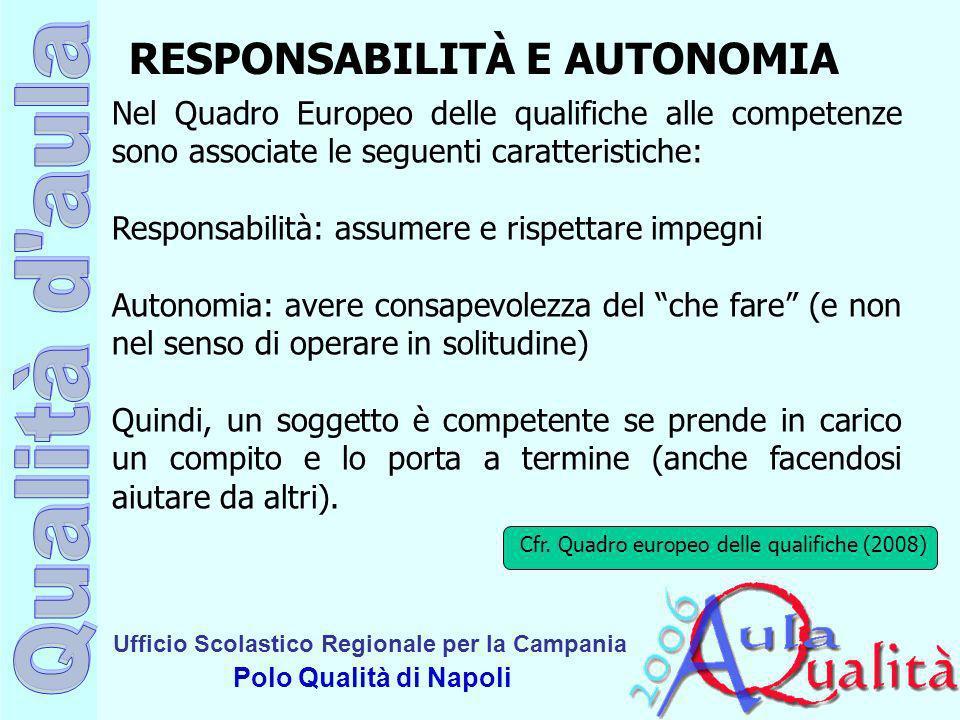 Ufficio Scolastico Regionale per la Campania Polo Qualità di Napoli RESPONSABILITÀ E AUTONOMIA Nel Quadro Europeo delle qualifiche alle competenze son