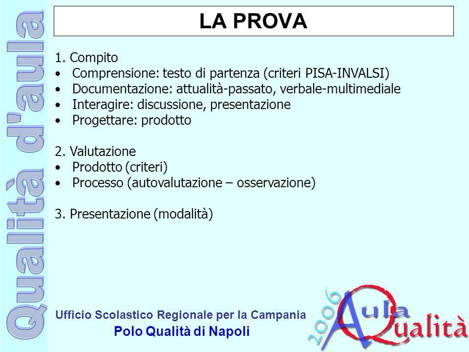 Ufficio Scolastico Regionale per la Campania Polo Qualità di Napoli LA PROVA 1. Compito Comprensione: testo di partenza (criteri PISA-INVALSI) Documen