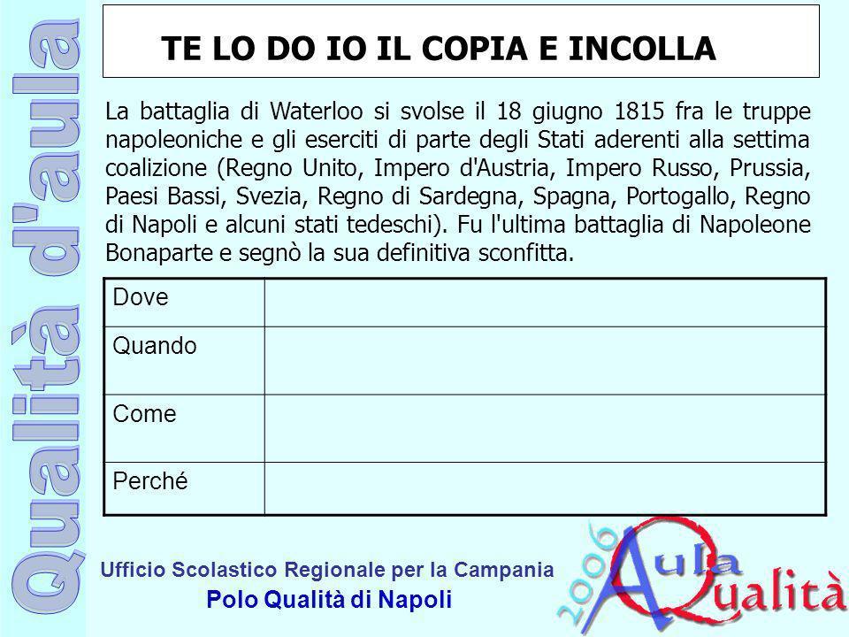 Ufficio Scolastico Regionale per la Campania Polo Qualità di Napoli La battaglia di Waterloo si svolse il 18 giugno 1815 fra le truppe napoleoniche e