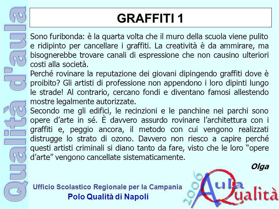 Ufficio Scolastico Regionale per la Campania Polo Qualità di Napoli GRAFFITI 1 Sono furibonda: è la quarta volta che il muro della scuola viene pulito