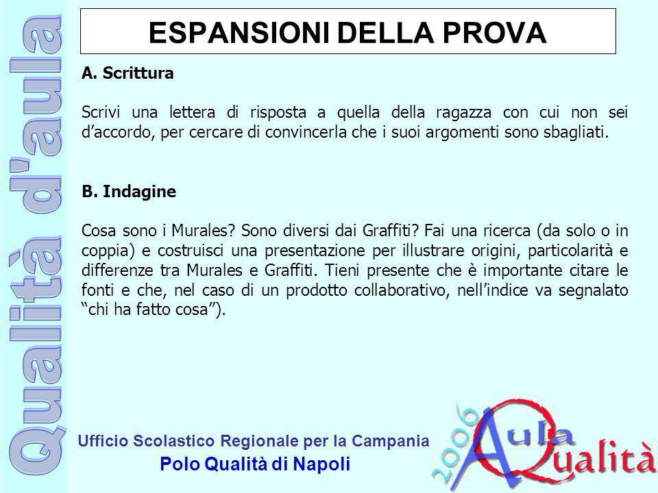 Ufficio Scolastico Regionale per la Campania Polo Qualità di Napoli ESPANSIONI DELLA PROVA A. Scrittura Scrivi una lettera di risposta a quella della