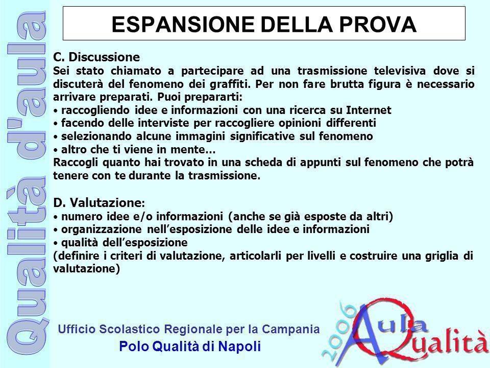 Ufficio Scolastico Regionale per la Campania Polo Qualità di Napoli ESPANSIONE DELLA PROVA C. Discussione Sei stato chiamato a partecipare ad una tras