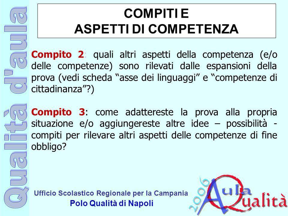 Ufficio Scolastico Regionale per la Campania Polo Qualità di Napoli COMPITI E ASPETTI DI COMPETENZA Compito 2: quali altri aspetti della competenza (e