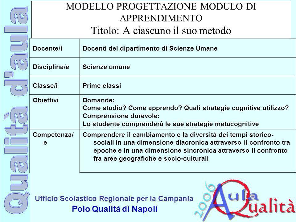 Ufficio Scolastico Regionale per la Campania Polo Qualità di Napoli MODELLO PROGETTAZIONE MODULO DI APPRENDIMENTO Titolo: A ciascuno il suo metodo Doc