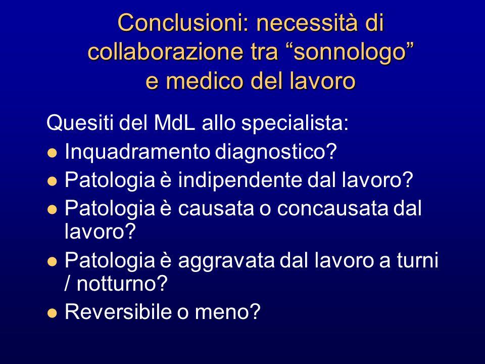 Conclusioni: necessità di collaborazione tra sonnologo e medico del lavoro Quesiti del MdL allo specialista: Inquadramento diagnostico? Patologia è in