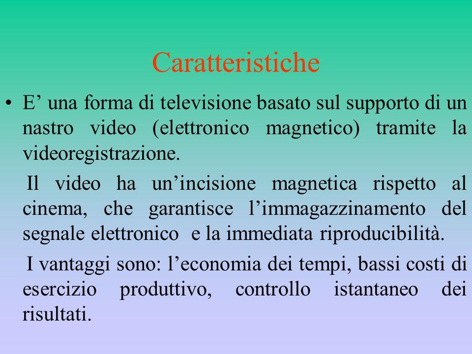 Caratteristiche E una forma di televisione basato sul supporto di un nastro video (elettronico magnetico) tramite la videoregistrazione. Il video ha u