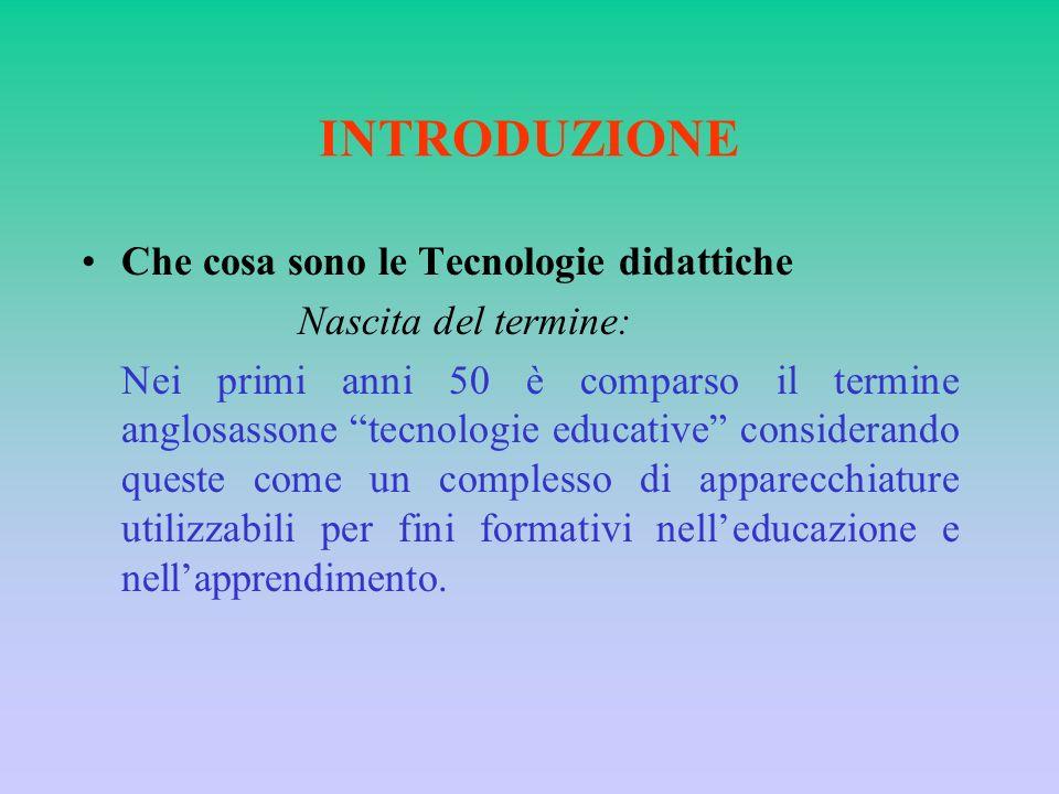 Negli anni 60 cè stato un superamento dei sistemi tradizionali di trasmissione del sapere, e ciò ha permesso la comparsa del computer nella didattica attraverso linnovazione tecnologica.
