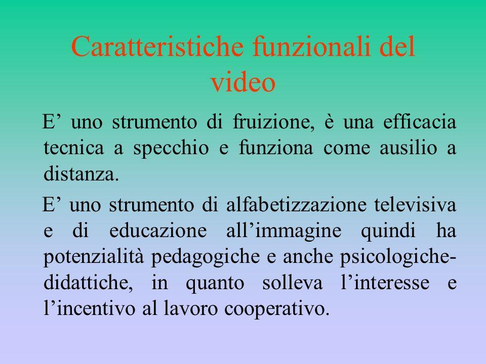 Caratteristiche funzionali del video E uno strumento di fruizione, è una efficacia tecnica a specchio e funziona come ausilio a distanza. E uno strume
