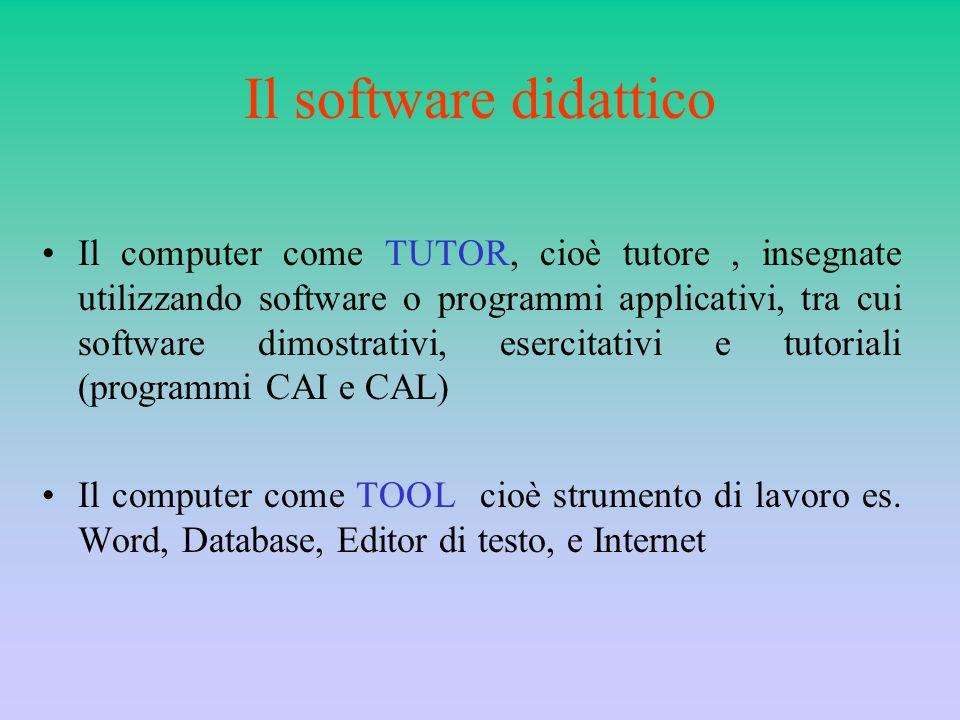 Il software didattico Il computer come TUTOR, cioè tutore, insegnate utilizzando software o programmi applicativi, tra cui software dimostrativi, eser
