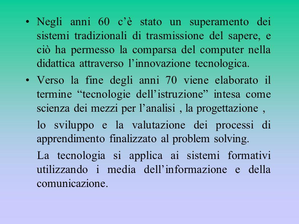 Un elemento importante nel sistema delle tecnologie didattiche è la comunicazione educativa, che assicura la integrazione tra laspetto tecnico dei media e laspetto didattico dei linguaggi.