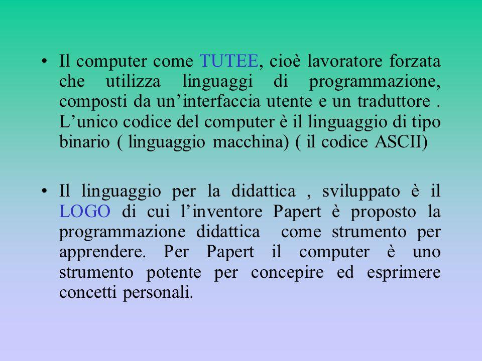 Il computer come TUTEE, cioè lavoratore forzata che utilizza linguaggi di programmazione, composti da uninterfaccia utente e un traduttore. Lunico cod