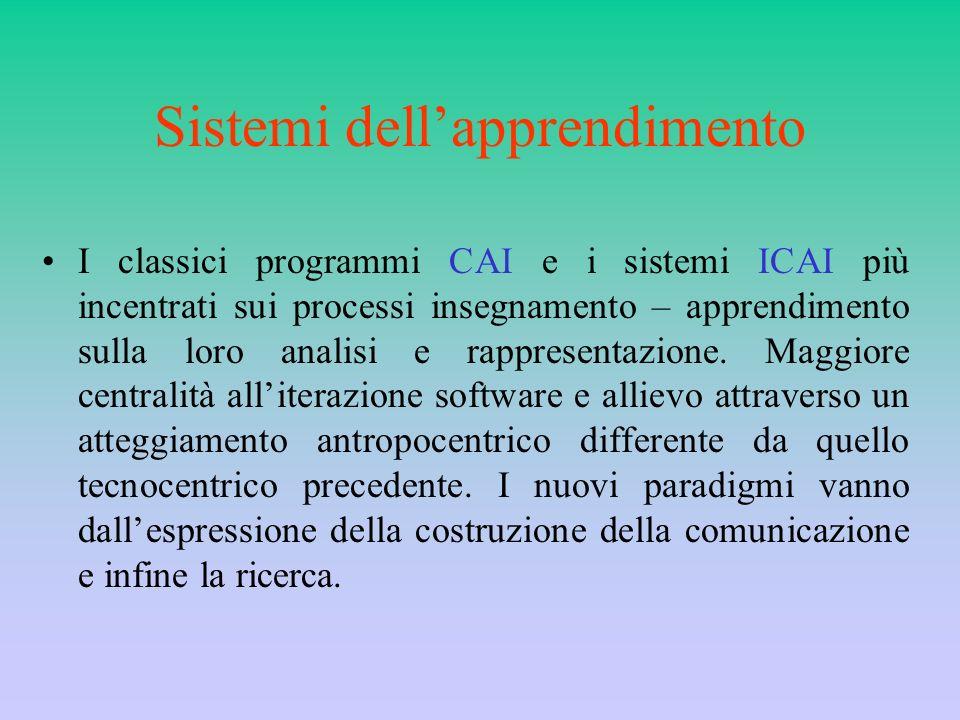 Sistemi dellapprendimento I classici programmi CAI e i sistemi ICAI più incentrati sui processi insegnamento – apprendimento sulla loro analisi e rapp