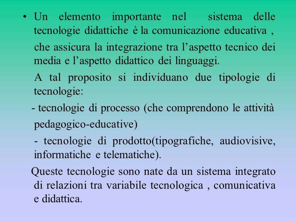 Un elemento importante nel sistema delle tecnologie didattiche è la comunicazione educativa, che assicura la integrazione tra laspetto tecnico dei med