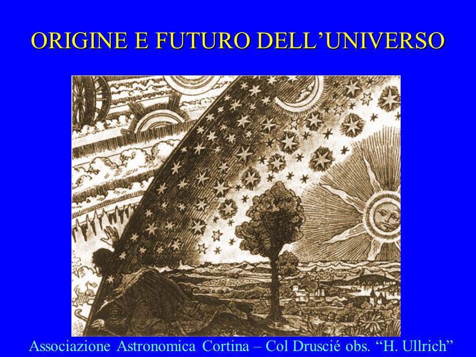 ORIGINE E FUTURO DELLUNIVERSO Associazione Astronomica Cortina – Col Druscié obs. H. Ullrich