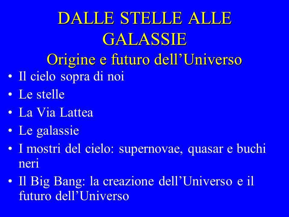DALLE STELLE ALLE GALASSIE Origine e futuro dellUniverso Il cielo sopra di noi Le stelle La Via Lattea Le galassie I mostri del cielo: supernovae, qua