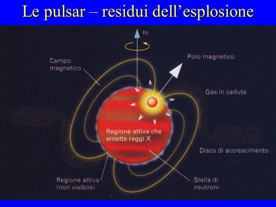 Le pulsar – residui dellesplosione Tutta la massa residua della stella esplosa, pari a quella del Sole, viene concentrata in uno spazio di una decina