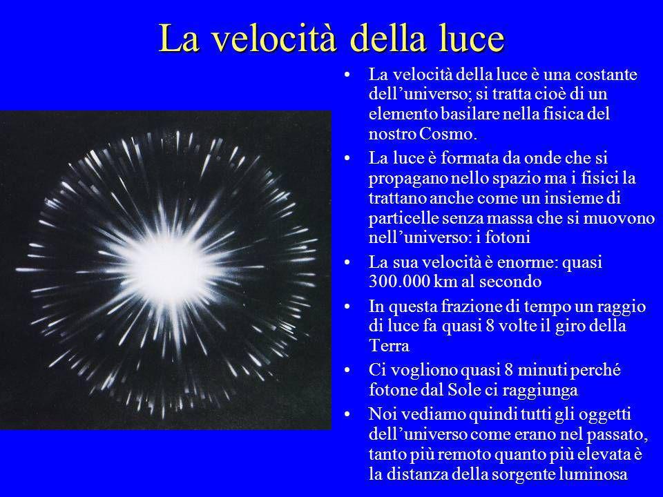 La velocità della luce La velocità della luce è una costante delluniverso; si tratta cioè di un elemento basilare nella fisica del nostro Cosmo. La lu