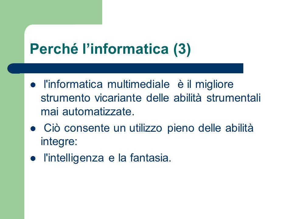Perché linformatica (3) l'informatica multimediale è il migliore strumento vicariante delle abilità strumentali mai automatizzate. Ciò consente un uti