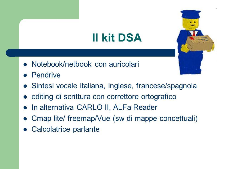 Il kit DSA Notebook/netbook con auricolari Pendrive Sintesi vocale italiana, inglese, francese/spagnola editing di scrittura con correttore ortografic