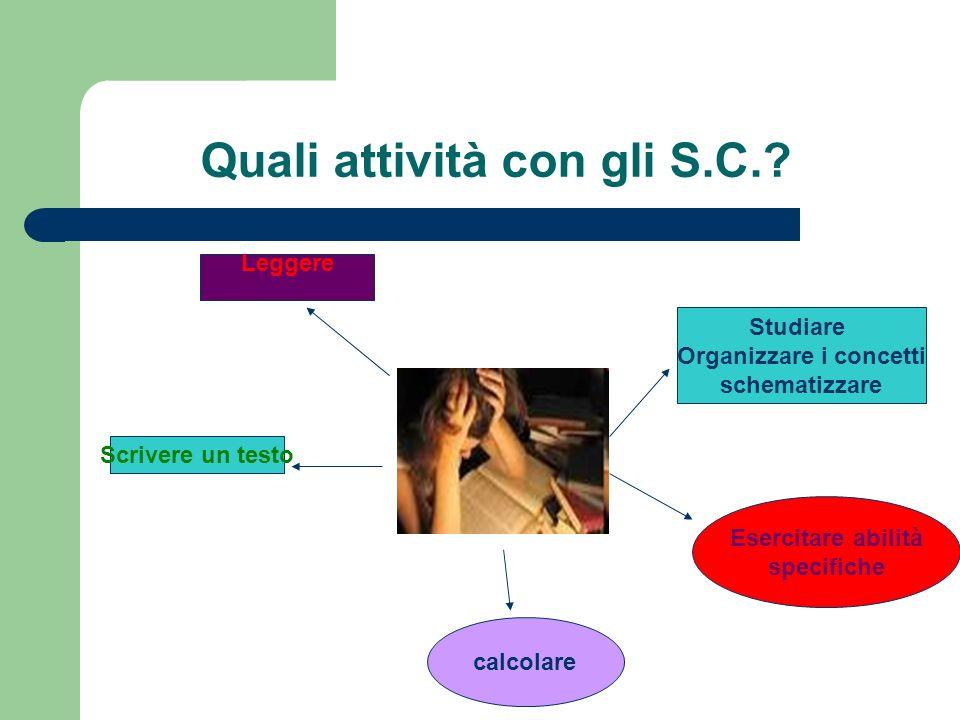 Quali attività con gli S.C.? Leggere Scrivere un testo Studiare Organizzare i concetti schematizzare calcolare Esercitare abilità specifiche