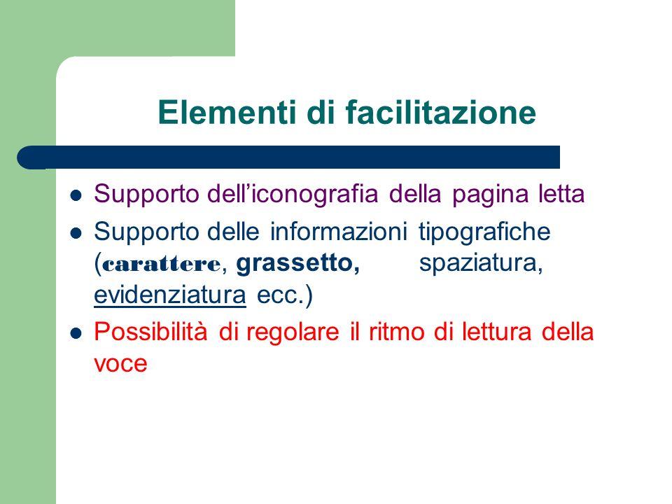 Elementi di facilitazione Supporto delliconografia della pagina letta Supporto delle informazioni tipografiche ( carattere, grassetto, spaziatura, evi