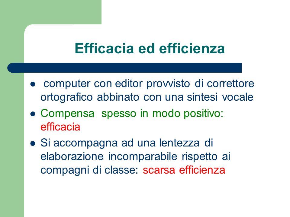 Efficacia ed efficienza computer con editor provvisto di correttore ortografico abbinato con una sintesi vocale Compensa spesso in modo positivo: effi