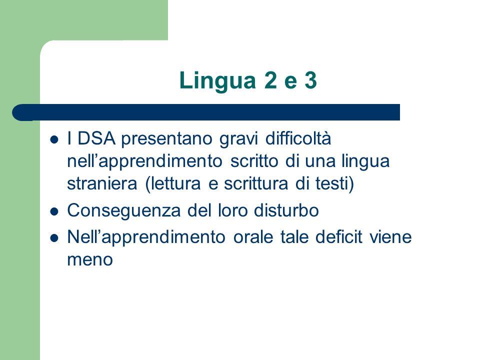 Lingua 2 e 3 I DSA presentano gravi difficoltà nellapprendimento scritto di una lingua straniera (lettura e scrittura di testi) Conseguenza del loro d
