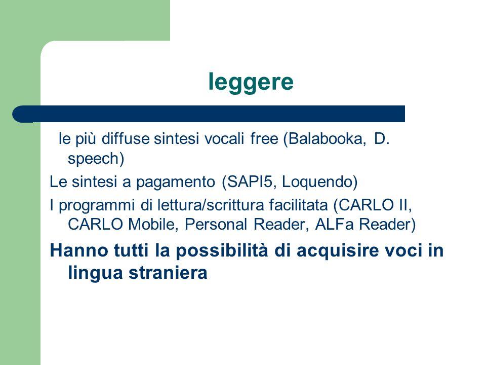 leggere le più diffuse sintesi vocali free (Balabooka, D. speech) Le sintesi a pagamento (SAPI5, Loquendo) I programmi di lettura/scrittura facilitata