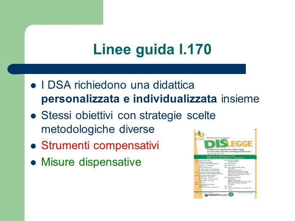 Linee guida l.170 I DSA richiedono una didattica personalizzata e individualizzata insieme Stessi obiettivi con strategie scelte metodologiche diverse