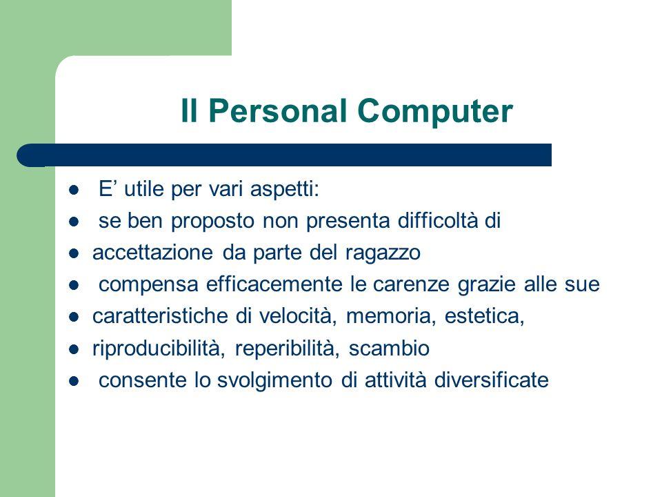 Il Personal Computer E utile per vari aspetti: se ben proposto non presenta difficoltà di accettazione da parte del ragazzo compensa efficacemente le