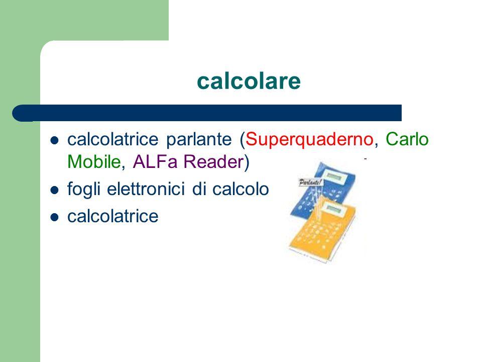 calcolare calcolatrice parlante (Superquaderno, Carlo Mobile, ALFa Reader) fogli elettronici di calcolo calcolatrice