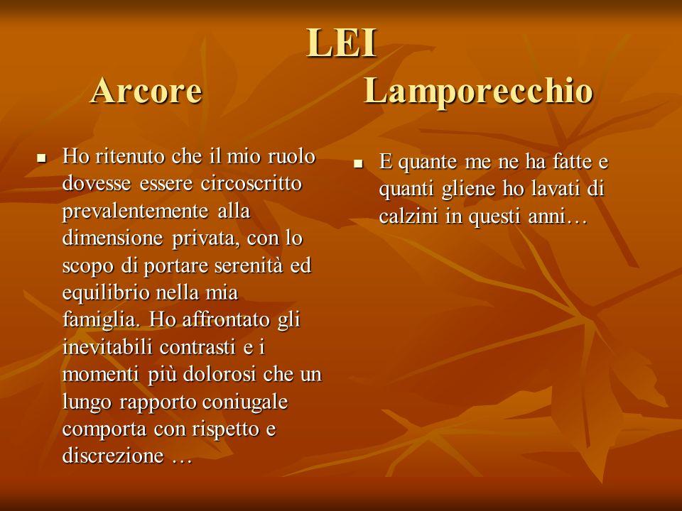 LEI Arcore Lamporecchio Ho ritenuto che il mio ruolo dovesse essere circoscritto prevalentemente alla dimensione privata, con lo scopo di portare serenità ed equilibrio nella mia famiglia.