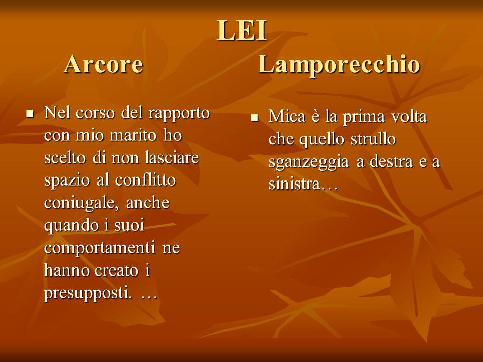 LEI Arcore Lamporecchio Nel corso del rapporto con mio marito ho scelto di non lasciare spazio al conflitto coniugale, anche quando i suoi comportamenti ne hanno creato i presupposti.