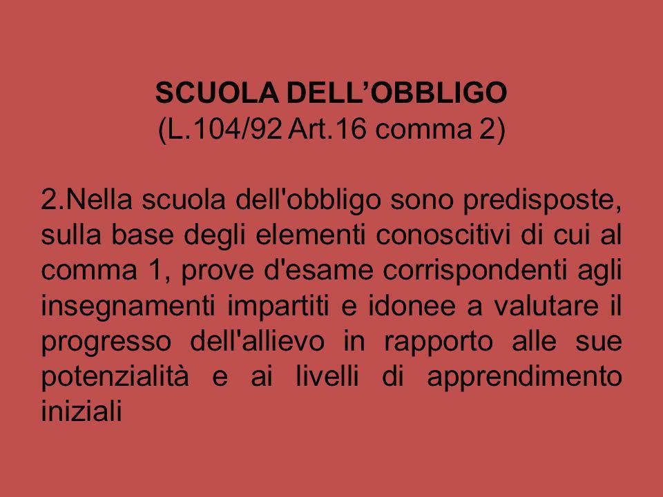 SCUOLA DELLOBBLIGO (L.104/92 Art.16 comma 2) 2.Nella scuola dell'obbligo sono predisposte, sulla base degli elementi conoscitivi di cui al comma 1, pr