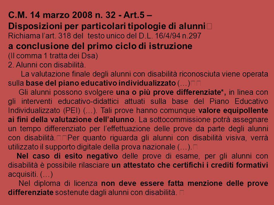 C.M. 14 marzo 2008 n. 32 - Art.5 – Disposizioni per particolari tipologie di alunni Richiama lart. 318 del testo unico del D.L. 16/4/94 n.297 a conclu