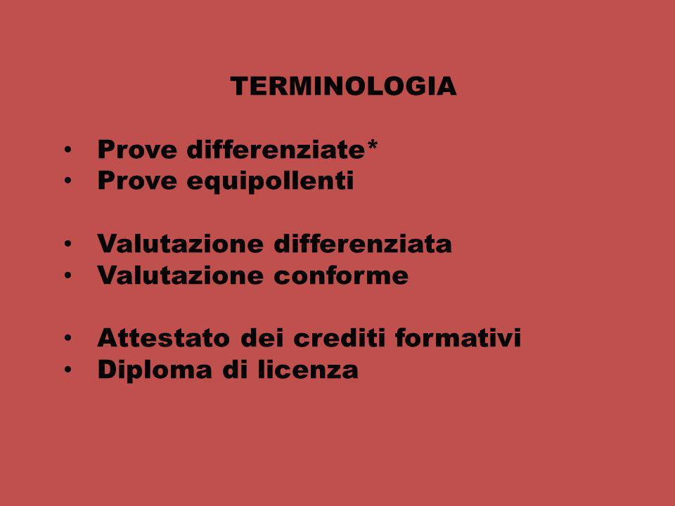 TERMINOLOGIA Prove differenziate* Prove equipollenti Valutazione differenziata Valutazione conforme Attestato dei crediti formativi Diploma di licenza