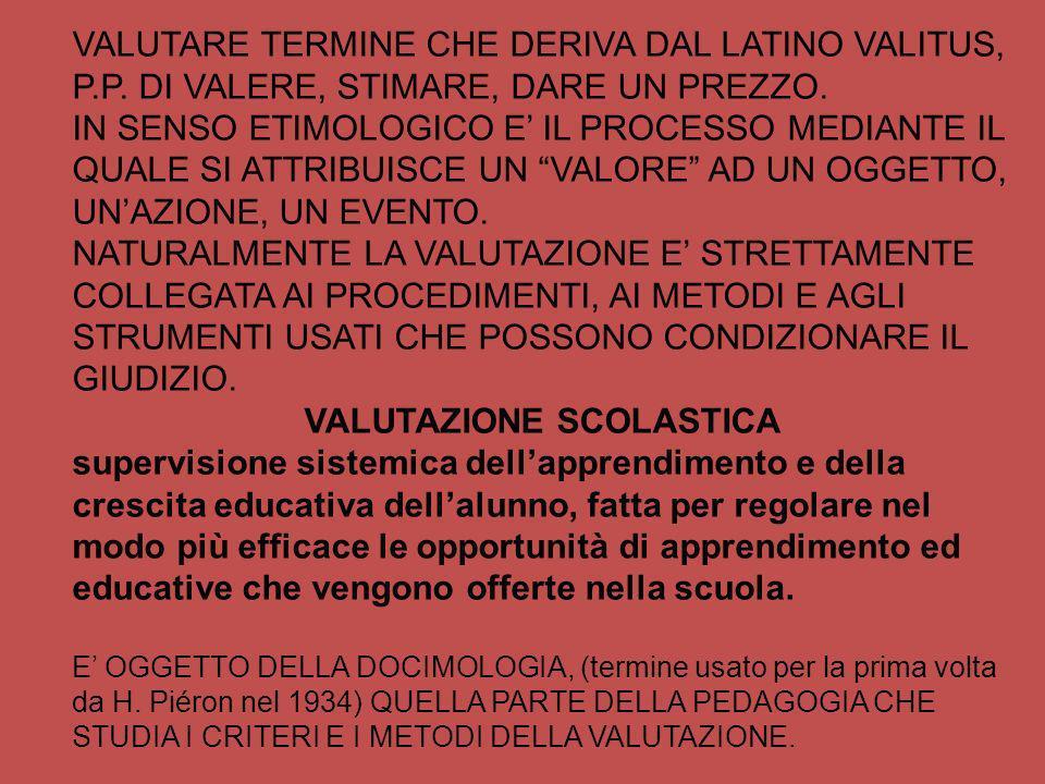 VALUTARE TERMINE CHE DERIVA DAL LATINO VALITUS, P.P. DI VALERE, STIMARE, DARE UN PREZZO. IN SENSO ETIMOLOGICO E IL PROCESSO MEDIANTE IL QUALE SI ATTRI