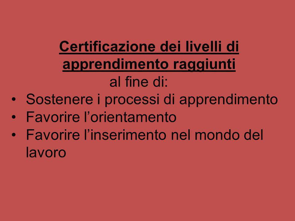 Certificazione dei livelli di apprendimento raggiunti al fine di: Sostenere i processi di apprendimento Favorire lorientamento Favorire linserimento n