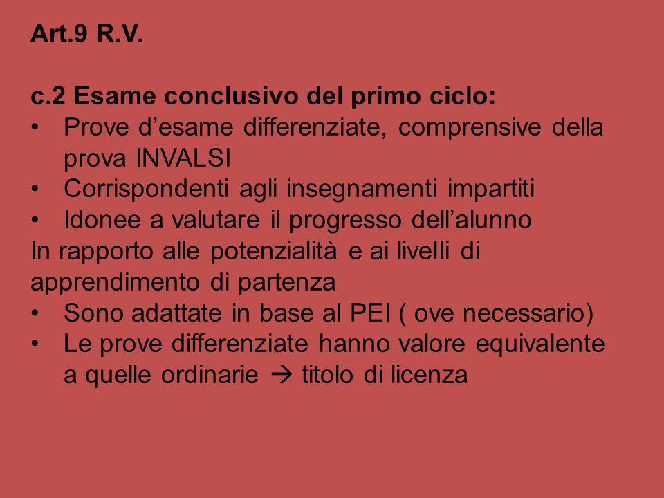 Art.9 R.V. c.2 Esame conclusivo del primo ciclo: Prove desame differenziate, comprensive della prova INVALSI Corrispondenti agli insegnamenti impartit